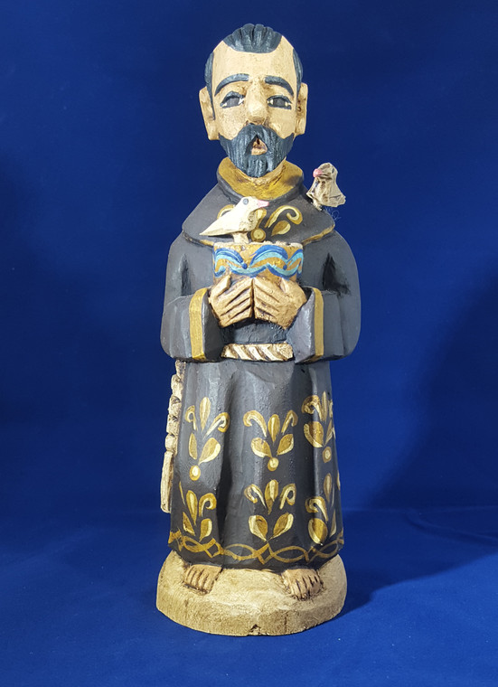 St. Francis Hand carved and painted in Mexico.  With 2 removable birds