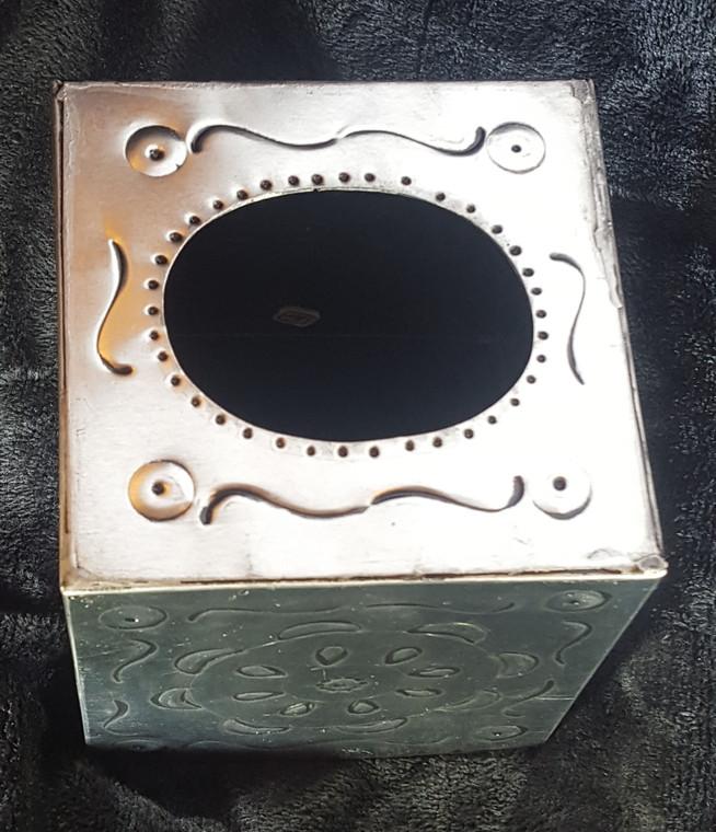 Silver Tin Square Tissue Box.