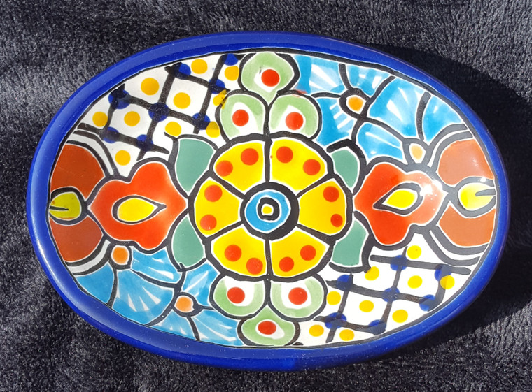 Hand Painted Talavera Soap Dish Each one is hand painted so designs Vary, all have blue border