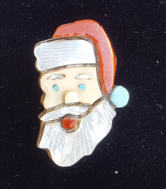 Sterling Silver Zuni Inlay Pin Santa Clause Sterling Silver Coral Turquoise Mother of Pearl