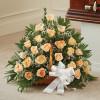 Peach, Orange & White Rose Fireside Basket