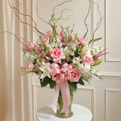 Pink & White Large Sympathy Vase Arrangement