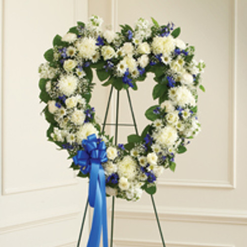 Blue & White Standing Open Heart