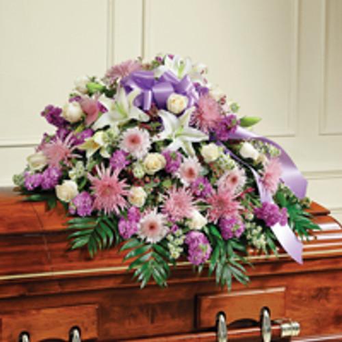 Lavender & White Mixed Half Casket Cover