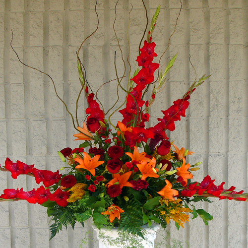 Red & Orange Sympathy Vase (SA2031)