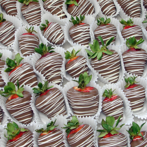 4 Dozen Bulk - Chocolate Dipped Strawberries - Drizzle (BSD-4896)
