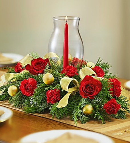 All Red Holiday Centerpiece