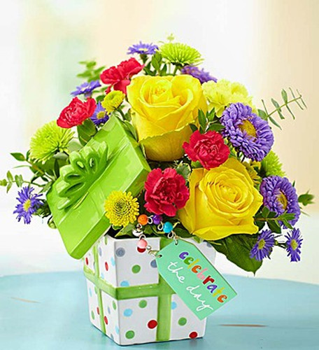 """""""Celebrate the Day"""" Present Bouquet"""