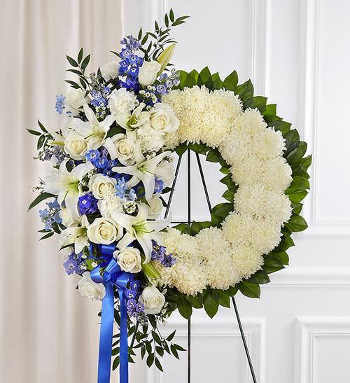 Serene Blessings™ Standing Wreath- Blue & White