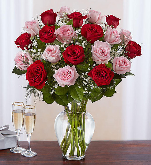 Ultimate Elegance™ 2 Dozen Long Stem Pink & Red Roses
