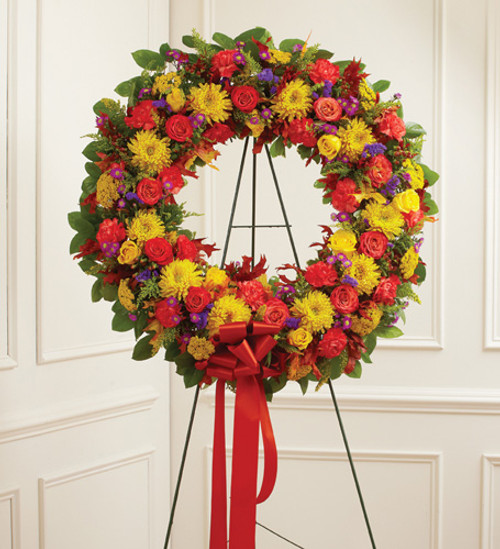 Standing Sympathy Wreath in Fall Colors