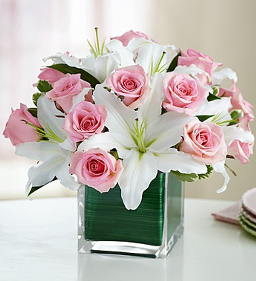 Modern Embrace™ Pink Rose And Lily Cube Bouquet - Large 91116L