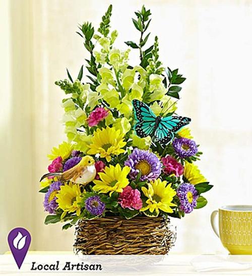 Springtime Bird's Nest of Flowers