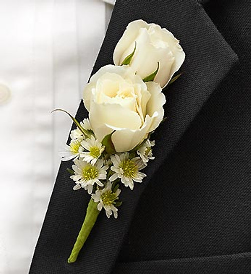 All White Ring Bearer Boutonnière
