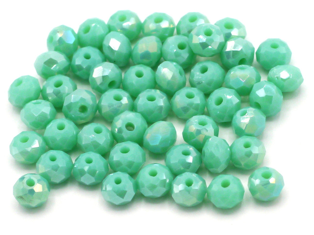 48pc 6x4mm Crystal Rondelle Beads, Opaque Turquoise Shimmer