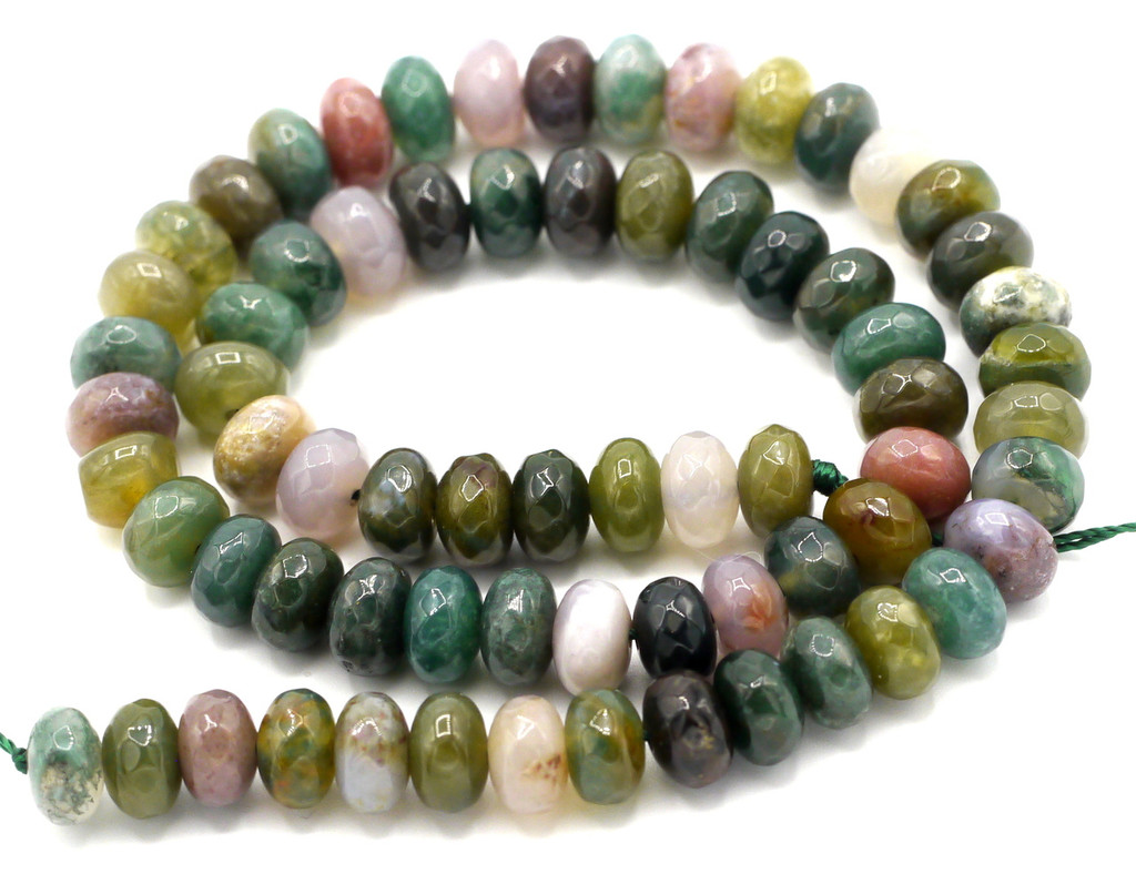 """15"""" Strand 8x5mm Indian Agate Faceted Rondelle Beads"""