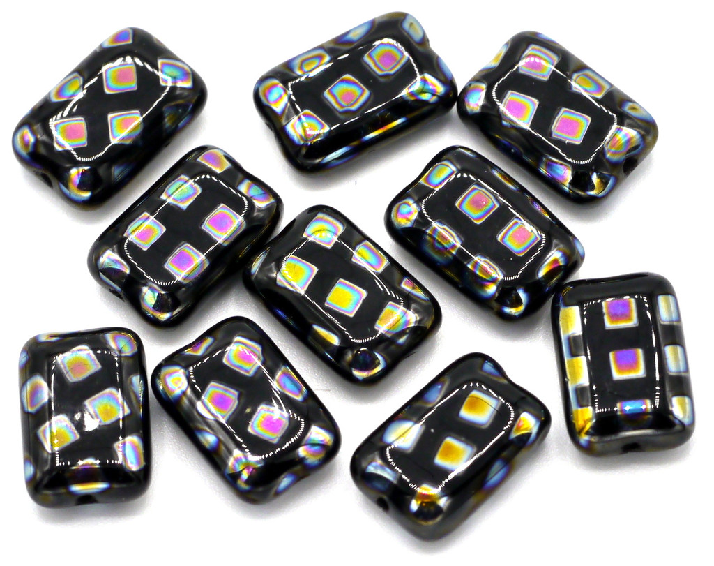 10pc 8x12mm Czech Glass Peacock Beads, Black With Vitrail Grid