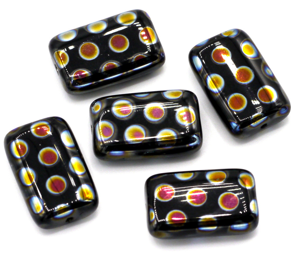 5pc 12x19mm Czech Glass Peacock Beads, Black With Marea Dots