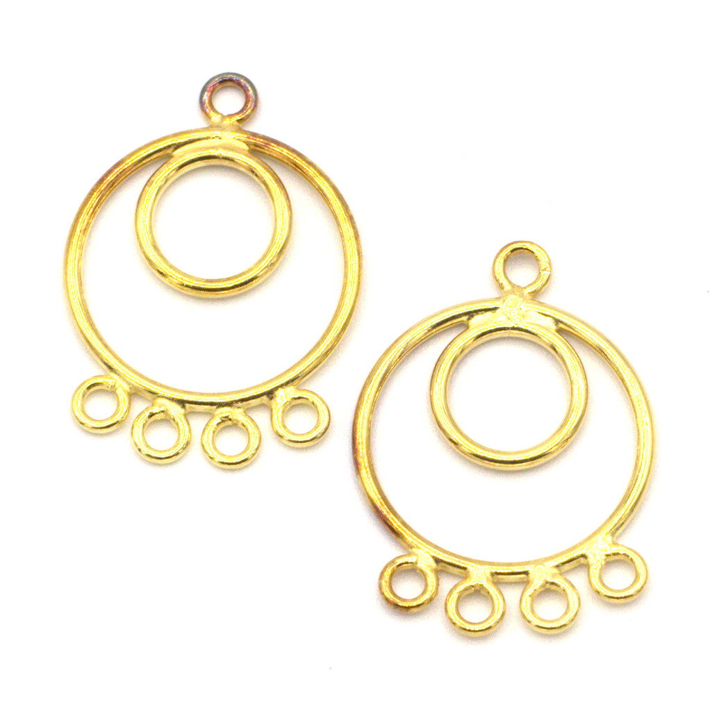 2pc 22mm Vermeil (Gold-Plated Sterling Silver) Round Chandelier Finding