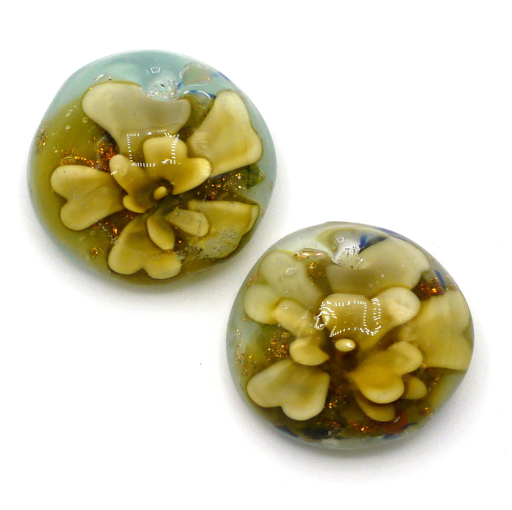 2pc Approx 21mm Top-Drilled Flat Semi-Round Lampwork Glass Drops, Amber Floral