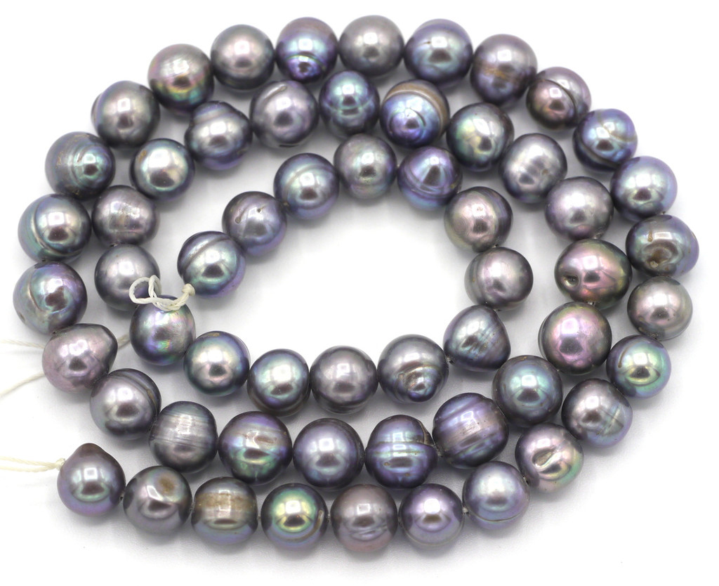 """SAVE 80%-- 15"""" Strand Approx 8mm Freshwater Pearl Irregular Semi-Round Beads, Silver"""