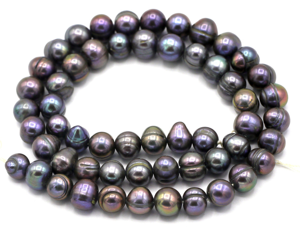 """SAVE 80%-- 15"""" Strand Approx 8mm Freshwater Pearl Irregular Semi-Round Beads, Peacock"""