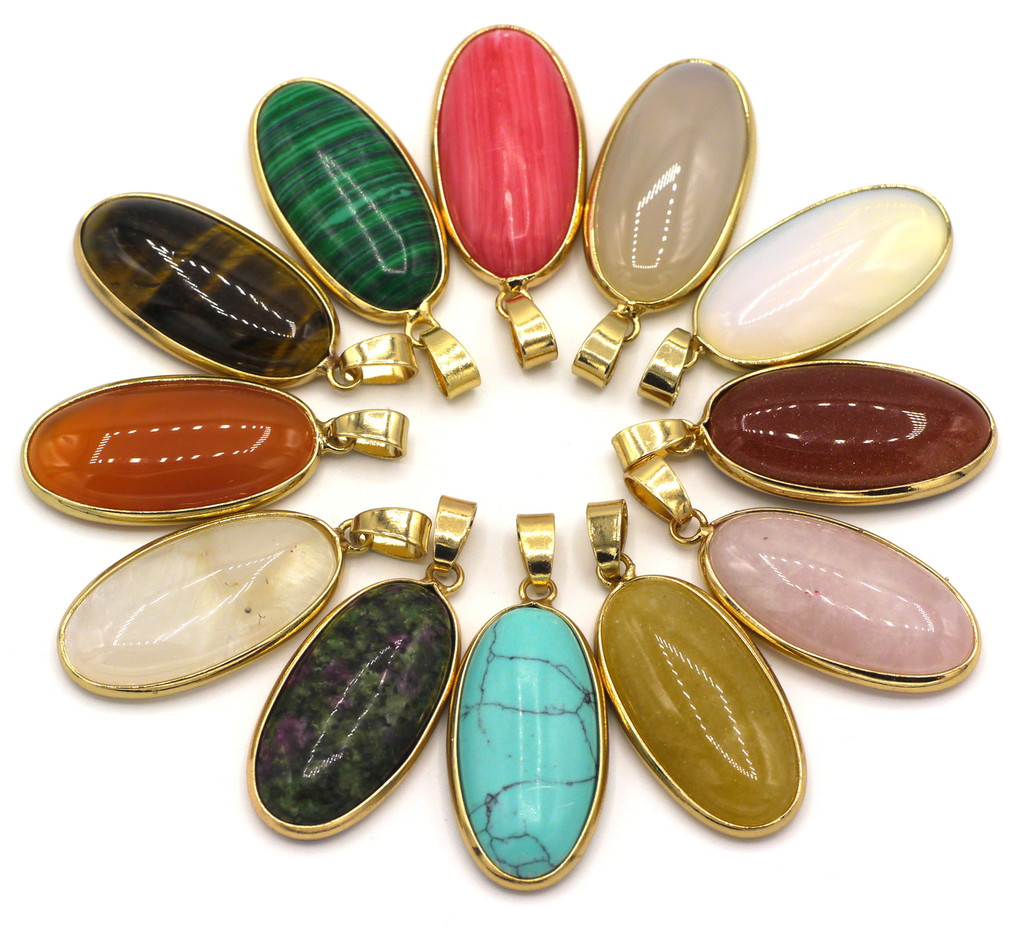 1pc RANDOM PICK Approx 36mm Oval Gemstone Pendant with Goldtone Brass