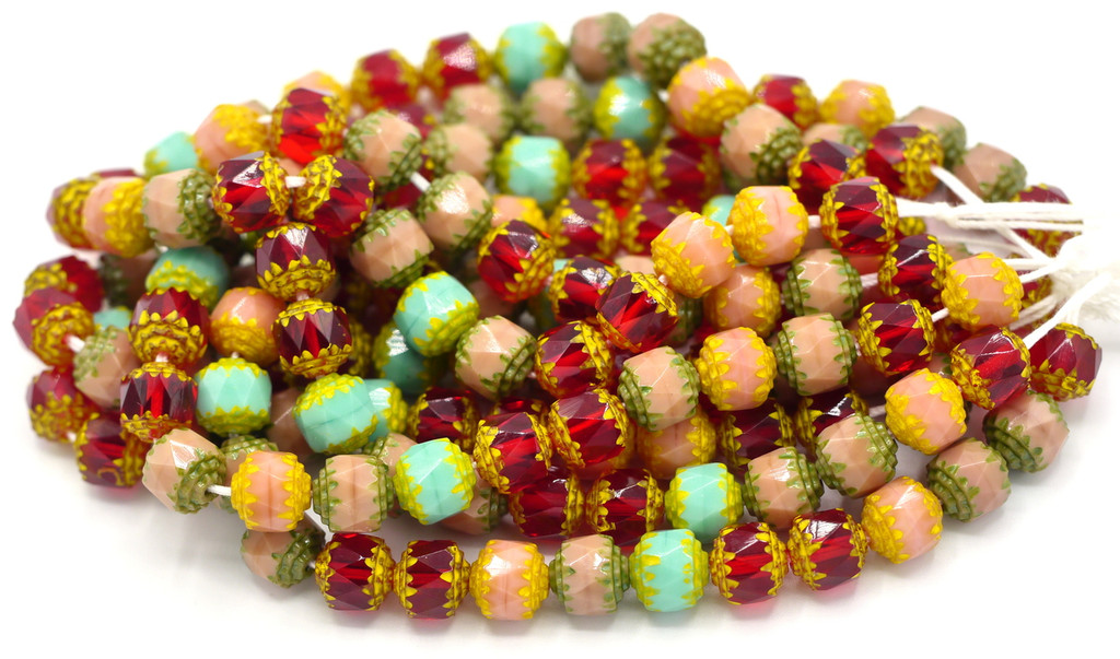 25pc 8mm Czech Glass Fire Polished Cathedral Beads, Carnival Mix