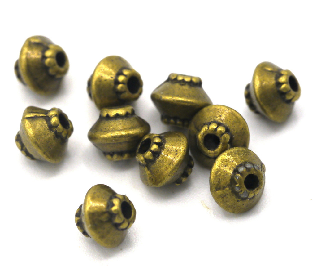 10pc 5x4.5mm Dotted Bicone Spacer Beads, Antique Brass Finish