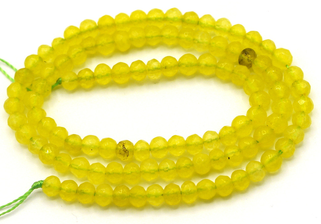 """15"""" Strand 4x3mm Faceted Agate Rondelle Beads, Citrus"""