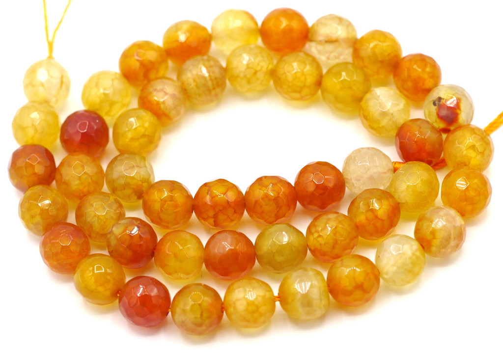 """15"""" Strand 8mm Light Red Agate Faceted Round Beads"""