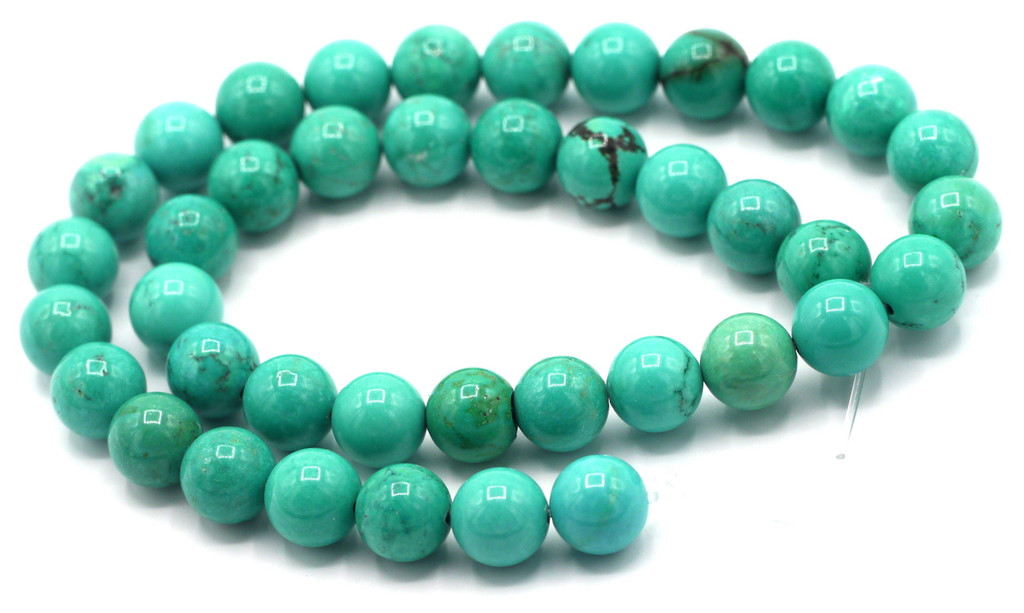 """15"""" Strand 10mm Sinkiang Turquoise Round Beads"""