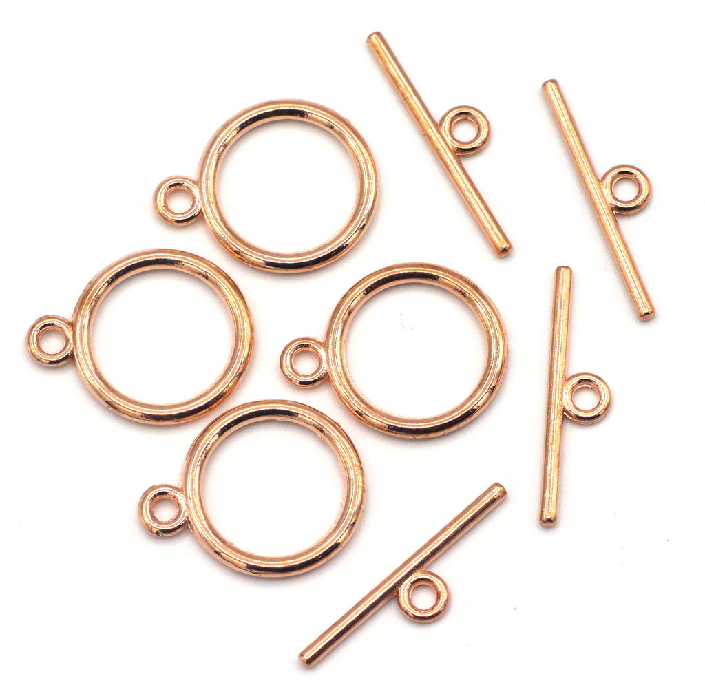 4 Sets 15x21mm Classic Round Toggle Clasp, Rose Gold Finish