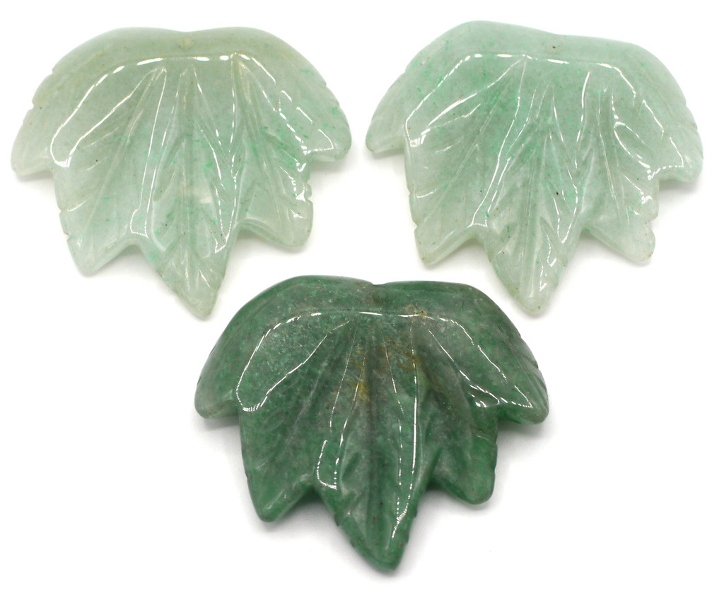 1pc Approx 40-45mmx45-50mm Carved Leaf Pendant, Green Aventurine