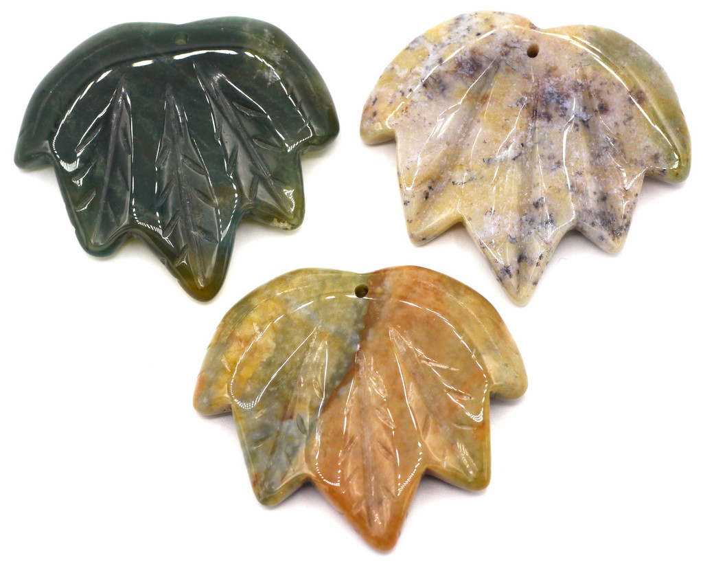 1pc Approx 40-45mmx45-50mm Carved Leaf Pendant, Indian Agate