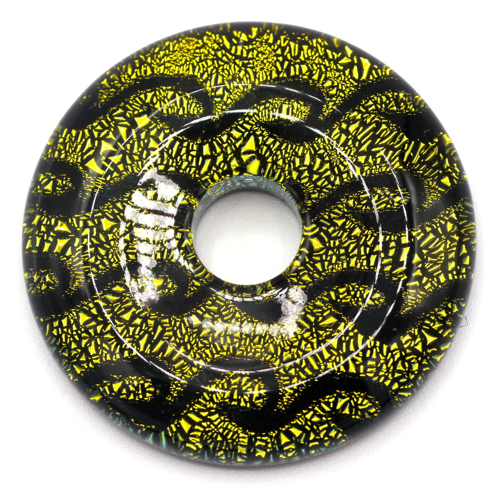 33mm Dichroic Donut Pendant, Yellow-Green Wave Pattern