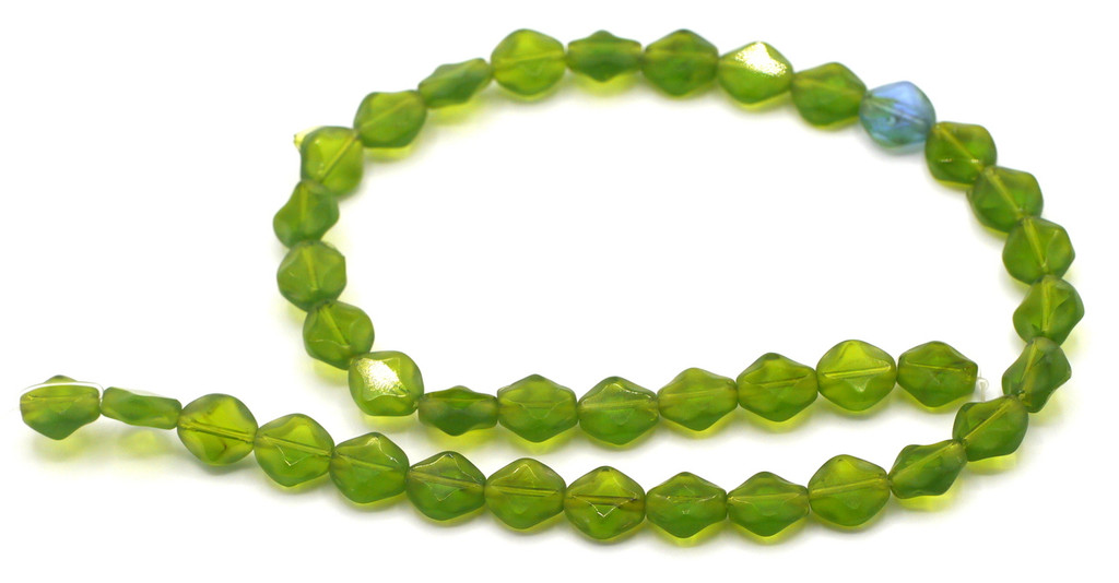 "14"" Strand 9x8mm Pressed Glass Half-Matte Coin Beads, Green"