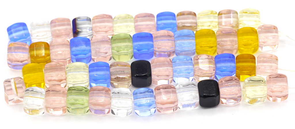 25pc 6mm Czech Glass Fire Polished Cube Beads, Mixed Colors