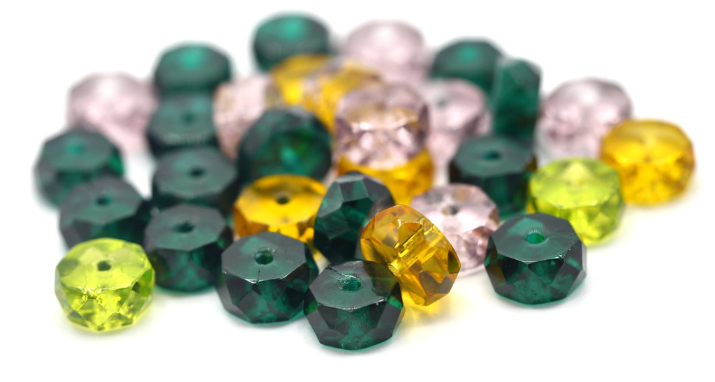 30pc 8x4mm Czech Glass Faceted Disc Beads, Spring Forest Mix