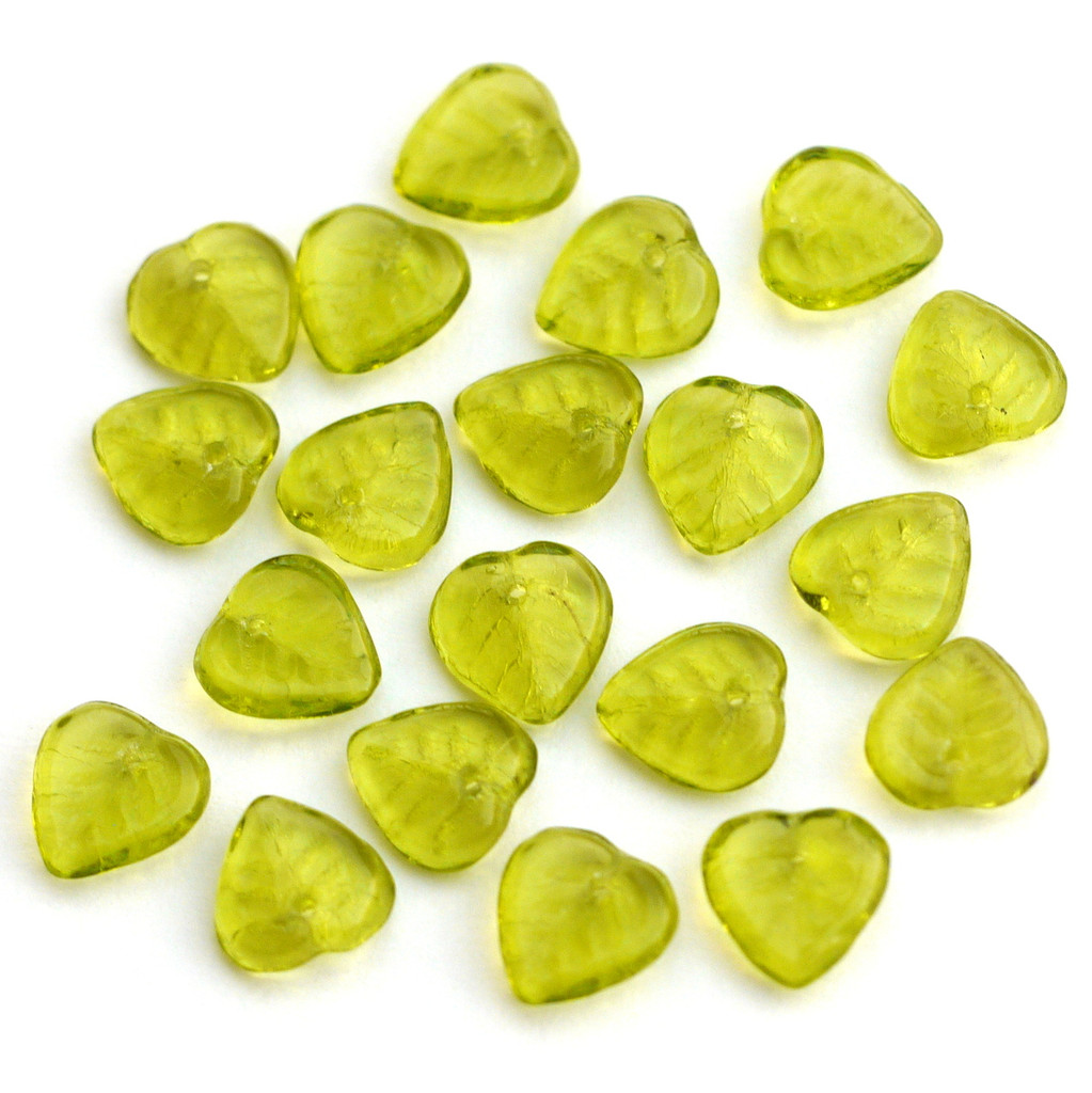 20pc 9mm Czech Pressed Glass Flat Leaf Beads, Light Olive