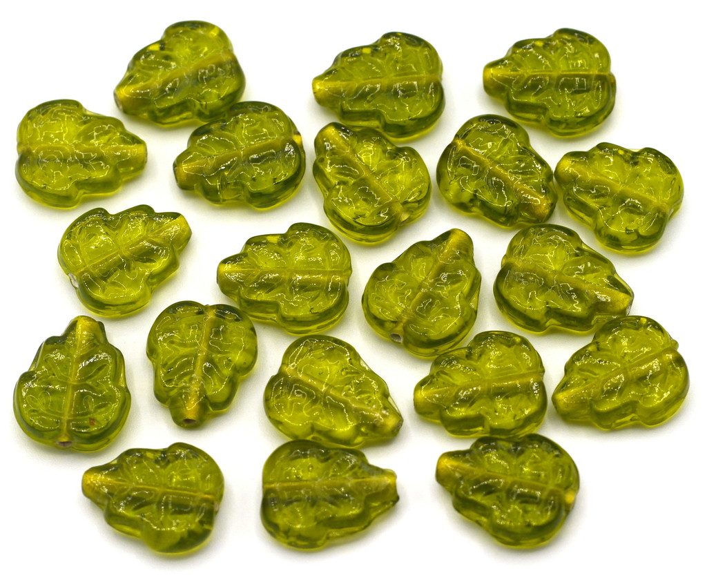 20pc 12x15mm Indian Pressed Glass Leaf Beads, Olive