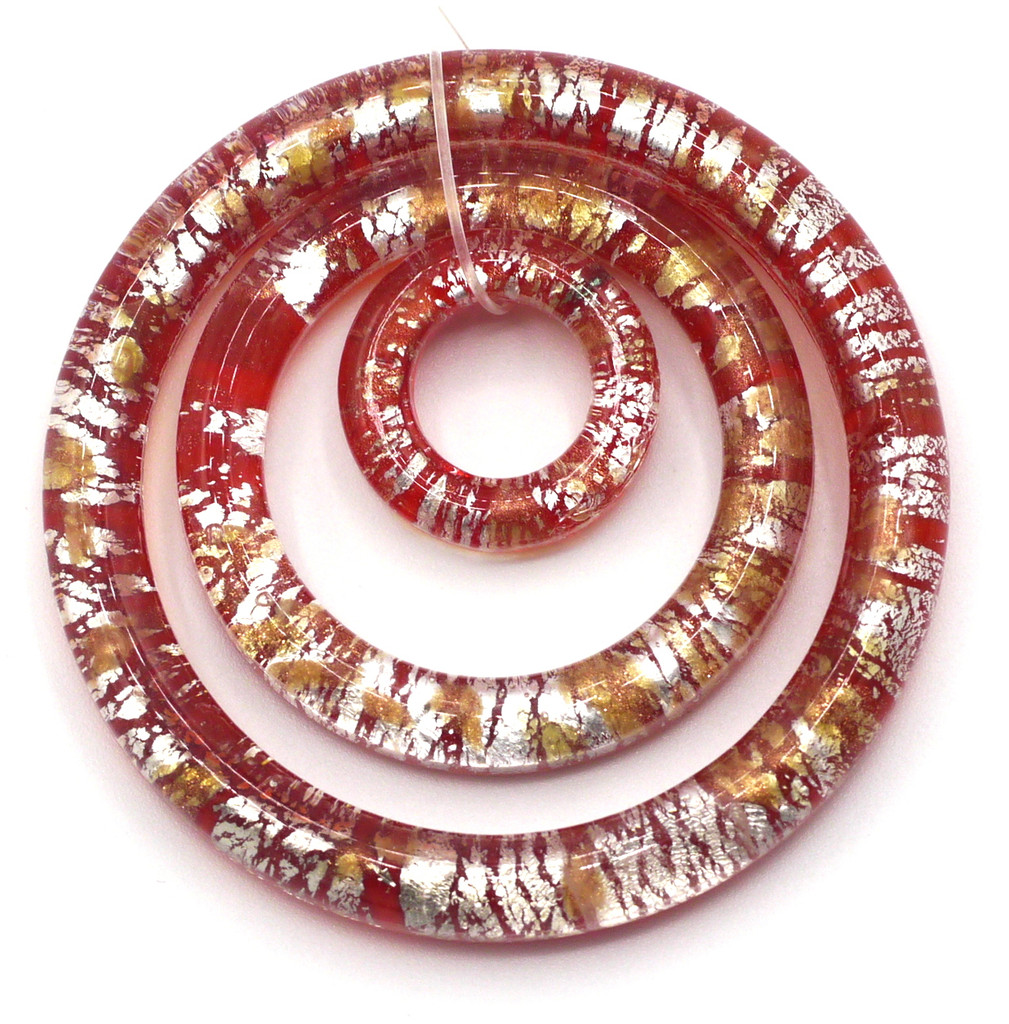 3pc Lampwork Glass Ring Pendant Set, Transparent Red & Silver (Approx 45mm, 30mm, &16mm)