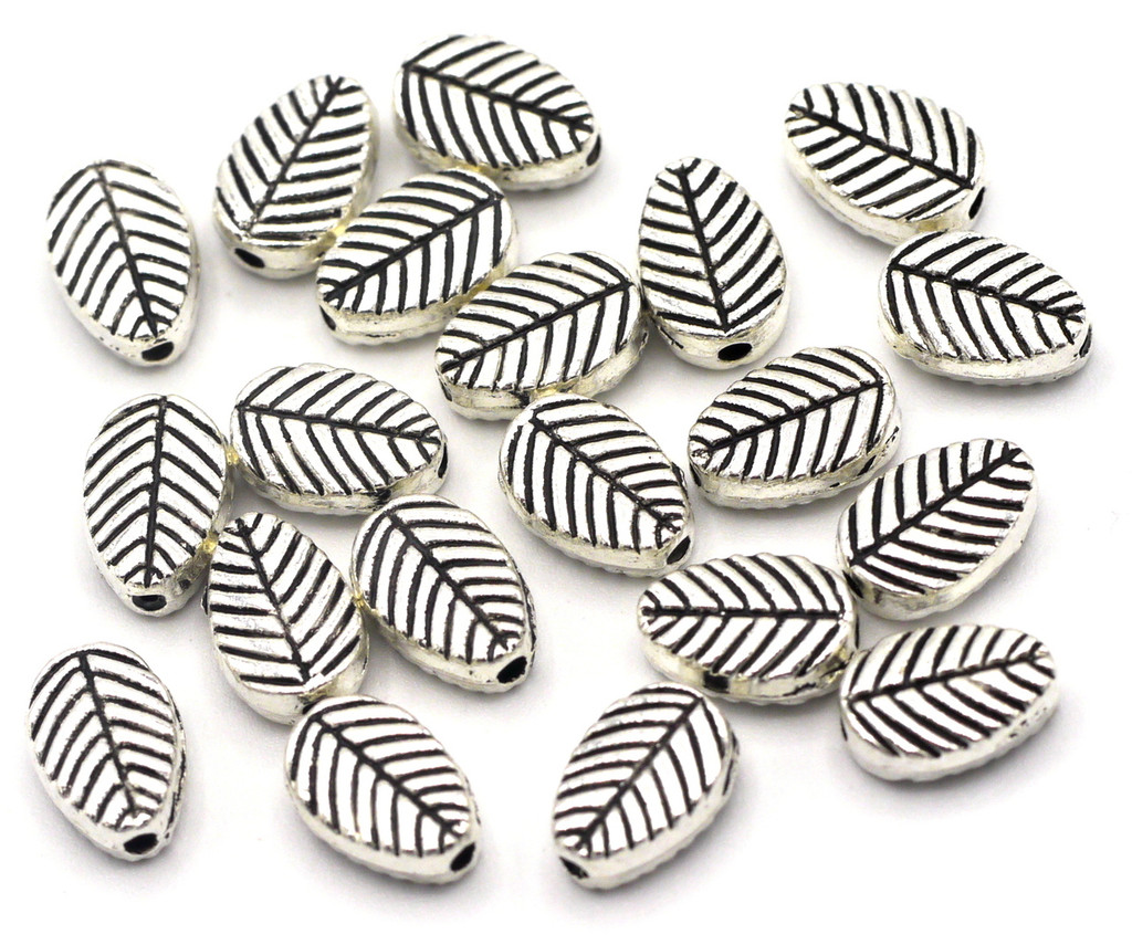 20pc 8x6mm Leaf Spacer Beads, Antique Silver