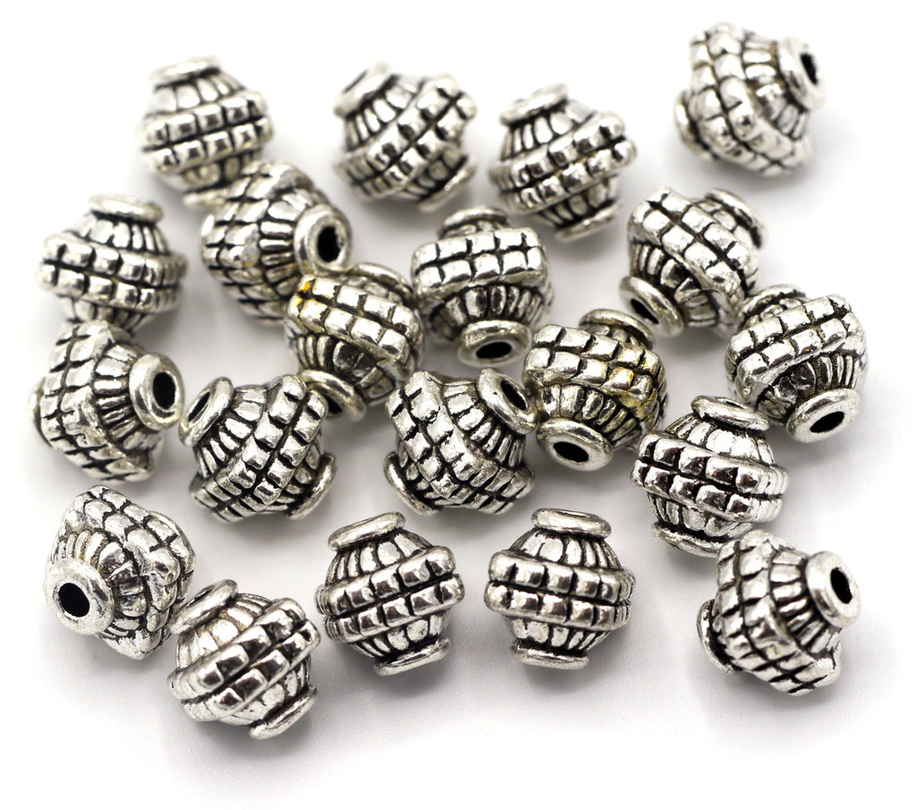 20pc 7x8mm Squared Bicone Spacer Beads, Antique Silver