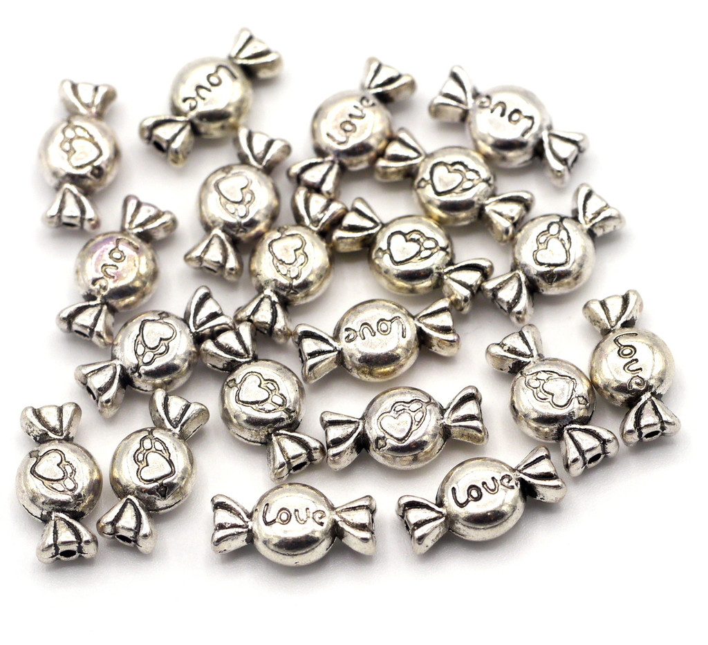 20pc 11x6mm Candy Spacer Beads, Antique Silver