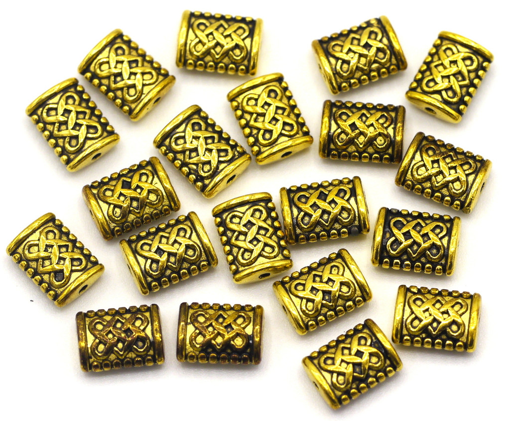20pc 7.5x5.5 Knotted Rectangle Spacer Beads, Antique Gold