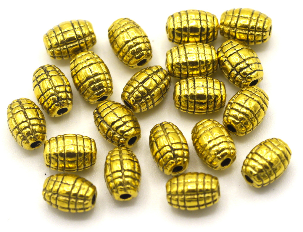 20pc 7x5mm Textured Oval Spacer Beads, Antique Gold