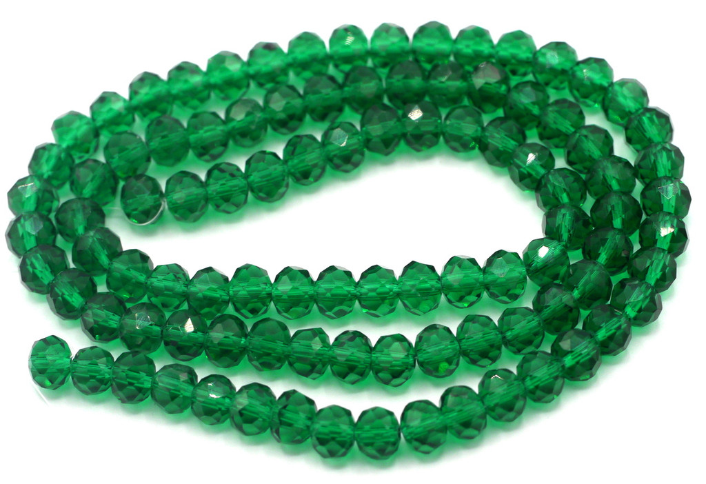 """SPECIAL VALUE-- 15"""" Strand 6x4mm Crystal Rondelle Beads, Emerald"""