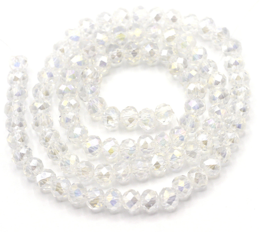 """SPECIAL VALUE-- 15"""" Strand 6x4mm Crystal Rondelle Beads, Crystal AB"""