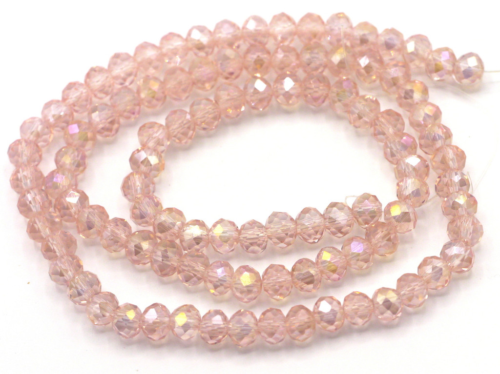 """SPECIAL VALUE-- 15"""" Strand 6x4mm Crystal Rondelle Beads, Light Rose AB"""